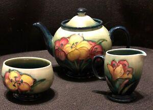 MOORCROFT GREEN FLORAL TEA SET - VERY GOOD CONDITION!