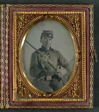 Photo Civil War Confederate With Conversion Musket and Small Bowie Knife