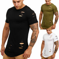 Herren T-Shirt Oversize destroyed Shirt Kurzarm Oval Shaped Slim Fit John Kayna