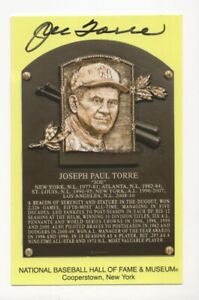 Joe Torre - MLB Hall of Fame - Autographed Hall of Fame Plaque Postcard