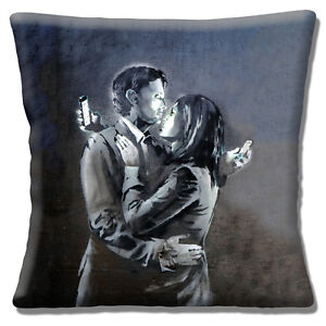 """Banksy Graffiti Artist 16""""x16"""" 40cm Cushion Cover 'Mobile Lovers' Two on Phones"""