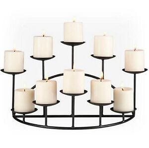 10 Platform Candle Candelabra Metal Holder Black Home Tabletop Fireplace Decor