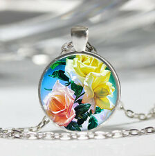 Yellow Pink Rose Tibet silver dome Glass Cabochon Necklace chain Pendant #562