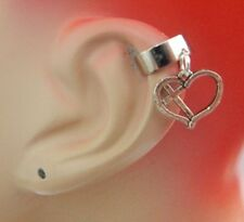 Silver Cross Heart Charm Drop/Dangle Ear Cuff Handmade NEW Accessories Fashion