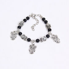NEW DIY fashion owl black Tibetan silver beaded bracelet gift of love S147