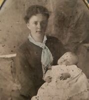 ANTIQUE VINTAGE AMERICAN VICTORIAN POST MORTEM LIFE DEATH LOSS MOM TINTYPE PHOTO