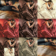 6 Piece Silk Satin Bed Sheets Duvet Sets Silken Double King Pillow Fitted Cover