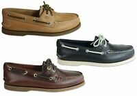 NEW SPERRY MENS A/0 2 EYE LEATHER LACE UP COMFORTABLE WIDE FIT BOAT SHOES