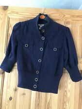 FOREVER Ladies Pretty Navy Wool Blend 3/4 Sleeve Cropped/Short Jacket Size S