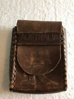Vintage Antique Hand-Tooled Leather Pouch for Cigarettes Australia Embossed
