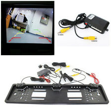 EU Car License Plate Parking Sensor Reverse Radar w/HD Rear View Backup Camera