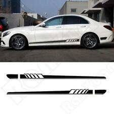 2X Black Auto Racing Car Side Body Long Stripe Vinyl Decals Decoration Sticker