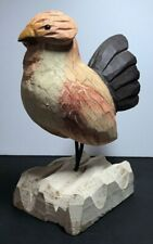 James Haddon Hand Carved Hand Painted Wood Bird Fowl Sculpture on Base in VGC