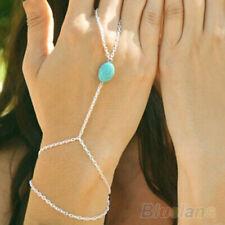SILVER TURQUOISE BEAD Tassel Slave Bracelet Bangle Finger Ring Harness Hand uk