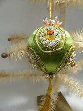 Vintage Push Pins Beaded Ornaments Green Satin Beads Pearls Sequins with Tassel