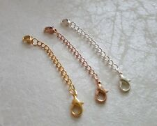 NEW DOUBLE ENDED ROSE GOLD,SILVER & YELLOW PLATED NECKLACE EXTENDERS LOBSTER