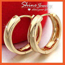 9K 9CT PLAIN GOLD FILLED MENS LADIES SOLID HOOP HUGGIES SLEEPER EARRINGS JEWELRY