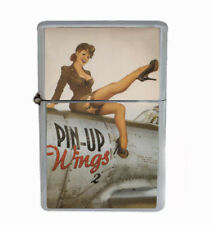 Pin Up Wings Rs1 Flip Top Oil Lighter Wind Resistant With Case