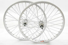"PAIR DIAMOND BACK 20"" BMX ALLOY WHEELS  SILVER 36 SPOKE WHEELS 3/8"" AXLE NEW"