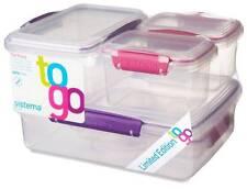 Sistema klip-it Set de 6 Plástico Comida Envases Contenedores Caja Rosa Violeta