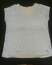Michael Kors Blue White Abstract Top Shirt size Large L SOFT