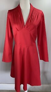 Red ALine Cotton Dress - Long Sleeves - New No Tags - AUS 16