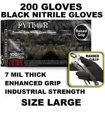 PYTHON Black Nitrile Gloves, 7 mil, Powder Free, 200 Gloves, Size L Large