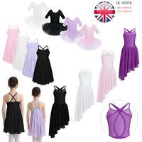 Girls Ballet Dance Dress Lyrical Leotard Tutu Skirt Dancewear Costume Aged 2-14Y