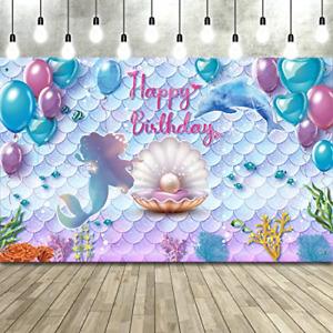 Under the Sea Little Mermaid Birthday Party Backdrop Girl Princess Mermaid Photo