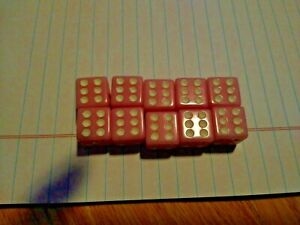 LOT OF 10 PIP SIX SIDED DICE OPAQUE PINK