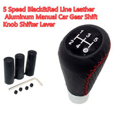 5 Speed Leather Aluminum Manual Car Shift Knob For Circular Gear Lever W/stitch