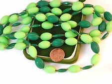 "Vintage Lime / Dark Green Plastic Bead Strand 54"" Flapper Necklace 7c 1"