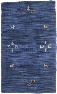 Tribal Oriental Rug Modern Hand Loomed 2X3 Solid Navy Small Home Decor Carpet