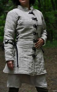 White Color Medieval Gambeson padded under armor dress sca larp gear Costumes