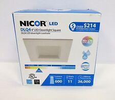 """Nicor Lighting DLQ4-10-120-3K-WH  4"""" LED Downlight Square 3000K ** FREE SHIP **"""