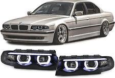 Klarglas LED Angel Eyes Scheinwerfer schwarz mit Motor für BMW 7er E38 94-01
