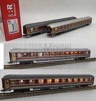 RIVAROSSI HR4266 - FS Set 2 carrozze ILLUMINATE UIC-X Tipo 1975/79 Rosso fegato.
