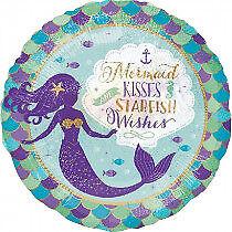 "18"" Mermaid Happy Birthday Wishes & Kisses Helium Foil Balloon Party 37799"