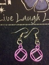 Purple NA Earrings Silver Tone Hooks – Narcotics Anonymous 12 Step Recovery