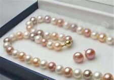 "8-9mm Real Multicolor Freshwater Cultured Pearl Necklace 18"" Earrings Set"