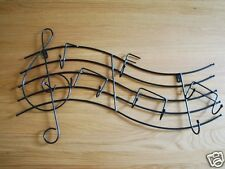 Iron Instruments Music Treble Clefs Notes Hat/Coat/Key Hook Hanger Rack  BLK