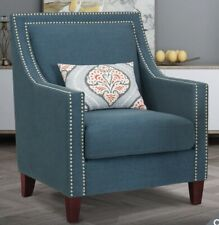 Homepop Accent Chair in Blue Fabric and Studding to Arms