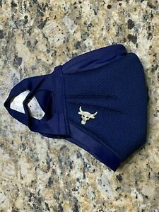 Project Rock Under Armour Sportsmask Face Mask 368451, Navy Gold XL XXL  & pouch