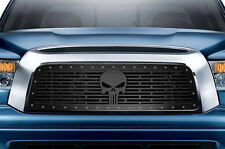 Custom PUNISHER Grille for 07-09 Tundra Aftermarket Steel Grill Black +SS Rivets