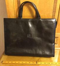 Black Leather Briefcase/Document/Laptop Bag/Case Hispania