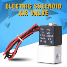 12V 1/4'' 2 Way Normally Closed Pneumatic Electric Solenoid Air Valve Aluminum