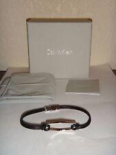 CALVIN KLEIN Women's Bracelet Silver Tone Stainless Steel Black Leather + BOX