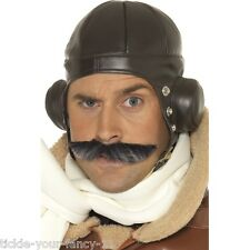 Mens Brown Flying Hat Pilot Bomber Airforce 40s Wartime Helmet Fancy Dress Stag