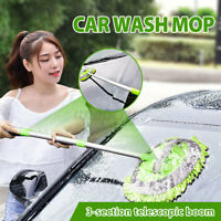 2 in 1 Car Wash Duster Cleaning Brush Wax Mop Telescoping Dusting Dust   Sn~