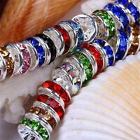 100Pcs Colorful Crystal Rhinestone Rondelle Spacer Beads Jewelry Making DIY